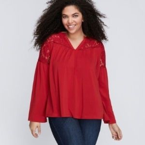 Lane Bryant Red Lace Yoke Bell Sleeve Boho Blouse